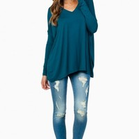COZY LONG SLEEVE V NECK TEE IN TEAL BLUE BY PIKO