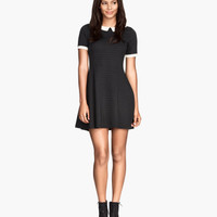 H&M - Jersey Dress with Collar - Black - Ladies