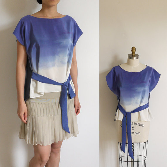Above Clouds - Ombre dip dyed Silk n Cotton top. Ready to ship sample.