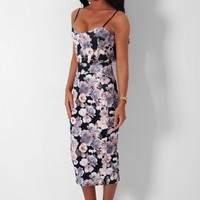 Indian Summer Black Multi Floral Print Midi Dress | Pink Boutique