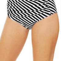 Fruit Dot Stripe Ruched High Waist