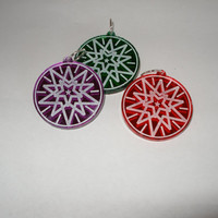 Small ornament set of three red green purple star mirrored acrylic laser engraved and cut tie ons