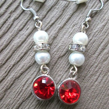 Sparkly Red Drop Earrings, White Pearls, Christmas Jewelry, Holiday Fashion, Winter Accessories, Stocking Stuffer, Dangle Style, Nickel Free