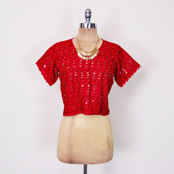 Red India Embroider Top Mirror Embroider Blouse Shirt Crop Top Banjara Top Ethnic Top 70s Hippie Top Boho Top Festival Top S Small M Medium