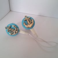 Silver and blue Anchor Earbuds