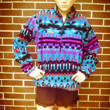 Vintage Columbia Blue Purple Pink Tribal Aztec Print Fleece Pull Over Zip Up Jacket