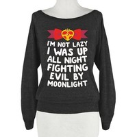HUMAN I Was Up Fighting Evil By Athletic Black T-Shirt