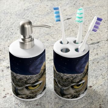 Owl and Blue Moon Bath Set