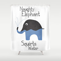 Naughty Elephant Squirts Water. Shower Curtain by Digi Treats 2