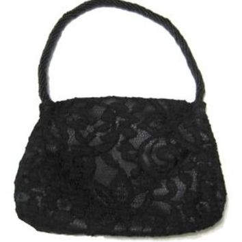 Ann Taylor Loft / Black Lace Satin Bead Mini Hand Bag Purse Makeup Cosmetic