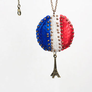 Eiffel Tower Necklace, France Flag Pendant, Sequin Embroidery Pendant,Travel Women Necklace, Blue White Red Sequins, French Sentiment