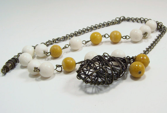 White Fossil Coral and Yellow Jade Brass Link Necklace