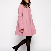 ASOS Swing Coat with Contrast Faux Fur Collar