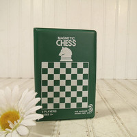 Vintage Hip Huggers Chess Travel Game - Retro Chess 2 Players Pocket Set – Green & White Vinyl Folding Game Board - 31 Magnetic Game Pieces