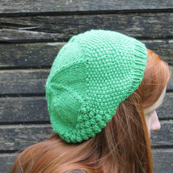 Textured Green Hat, Knitted, Beanie, Slouch, Beret