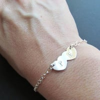 Personalized Initial STERLING Silver Bracelet, Two Hearts, Heart Bracelet, Anniversary Gifts, Engagement Gifts, Bridal Shower Gifts