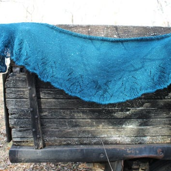 Turquoise Lace Shawl, Sequins, Knitted, Womens, Blue-green, Lightweight, Fashion, Wrap