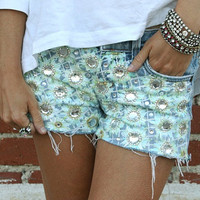 Daisy embellished shorts