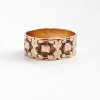 Antique Victorian 10k Rose Gold Ring - Size 7 1/4 Vintage Late 1800s Thick Cigar Style Fine Wedding Band Jewelry
