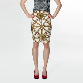 Chain Pattern Collage Skirt by Daniel Ferreira-Leites (Fitted Skirt)