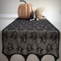 "Eerily Elegant Victorian Lace Black Widow Halloween table runner and shawl made of midnight black spider mesh fabric measuring 76"" X 13"""