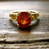 Mandarin Orange Spessartite Garnet Engagement Ring in 18K Yellow Gold with Double Claw Prongs and Scrolls on Shank & Basket Size 6.5