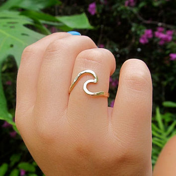 Ocean Wave Ring, Gold, Hammered Surf, Hawaii Beach Jewelry, Surfer Girl, Gift for Her, Handmade, Mermaid Accessory, Stocking Stuffer