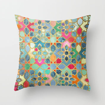 Gilt & Glory - Colorful Moroccan Mosaic Throw Pillow by micklyn