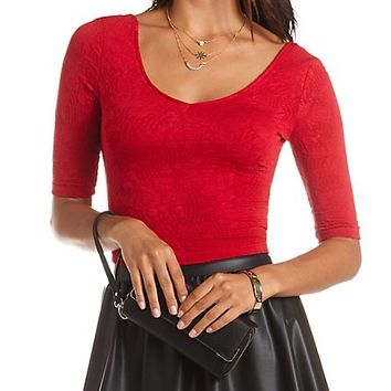 Textured Double-V Half Sleeve Crop Top by Charlotte Russe