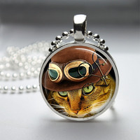 Round Glass Pendant Bezel Pendant Cat Pendant Steampunk Cat Necklace Photo Pendant Art Pendant With Silver Ball Chain (A3883)