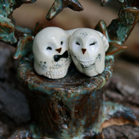 Wedding Cake Topper Snowy Owls - Miniature Hedwig Inspired Clay Owlery