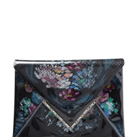 Elisa Painted Python & Lucite Envelope Clutch by Marchesa at Gilt