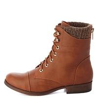 Sweater-Lined Lace-Up Combat Boots