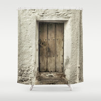 Retro door in mountains village Shower Curtain by Guido Montañés