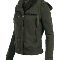 RubyK Womens Classic Double Breasted Pea Coat Jacket with Hood