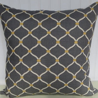 Contemporary Decorative Pillow Cover 20 x 20 Chain Link Throw Pillow--Grey and Yellow.