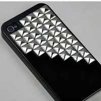 Metal Silver pyramid stud black iPhone 4S case, Iphone 4 Case, Case Cover for Iphone 4S, Case cover for Iphone 4, Hard Case Cover