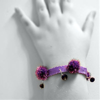 Bracelet- Purple Tinsel Pompoms & Crystal Beads OOAK