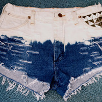 SALE Vintage Bleached, Distressed & Studded High Waisted Shorts