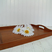 Vintage Genuine Teak Wood Two Handled Serving Tray - Large Wooden Retro Center Piece Board Made in Thailand - BoHo Bistro Entertaining Tray