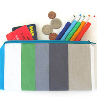 Long Zipper Pouch / Pencil Case / Pencil Pouch Summer Stripes - Men&#x27;s Gift Back to School
