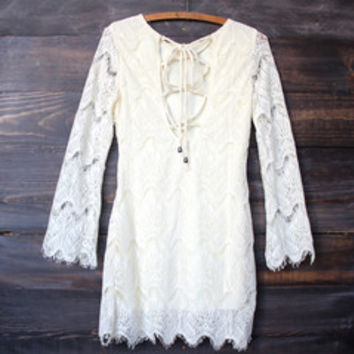 romantic bohemian style crochet lace dress - cream