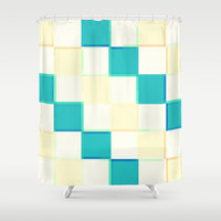 Teal Cream & White 3D Squares Shower Curtain by 2sweet4words Designs