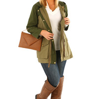 She's Army Strong Jacket: Army Green