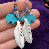 Turquoise Bear & Feather earrings