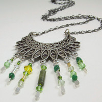 Crescent Shaped Silver Pendant with Colorful Green Crystal, Jade, Chaldcedony and Glass Bead Dangle Necklace, Antiqued Flower Shape Clasp