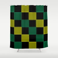Green Olive & Black 3D Squares Shower Curtain by 2sweet4words Designs
