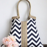 Navy blue-white chevron tote bag SUMMER FASHION with jute