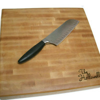 "Personalized Cutting Board - End Grain Maple 14""x14""x2"" with Feet"