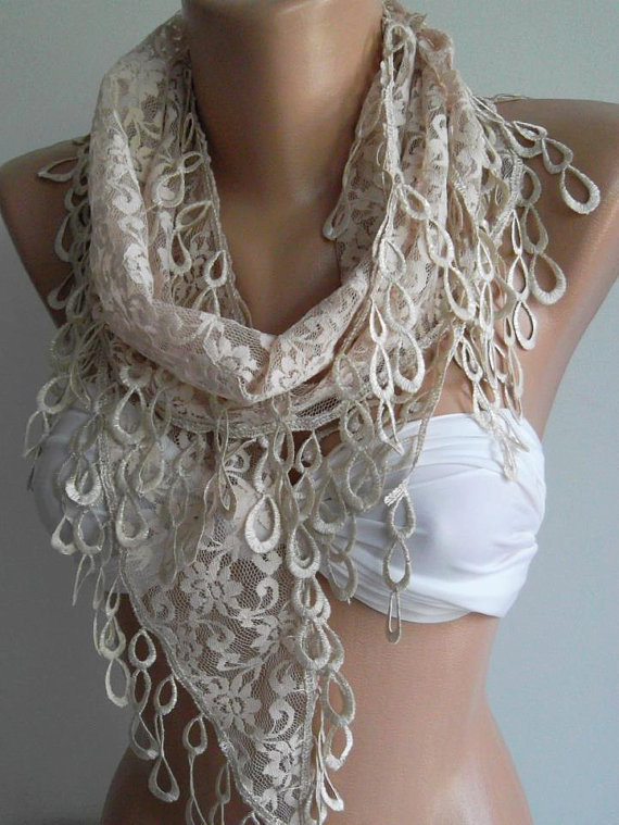 ON SALE / Beige -- Elegance  Shawl ---- Scarf with Lacy Edge.....